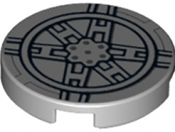 Lego alkatrész - Light Bluish Gray Tile, Round 2x2 with Bottom Stud Holder with Black SW Tie Fighter Pattern