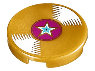 Lego alkatrész - Pearl Gold Tile, Round 2x2 with Bottom Stud Holder with Vinyl Record with Magenta Center and Star Pattern