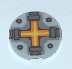 Lego alkatrész - Light Bluish Gray Tile, Round 2x2 with Bottom Stud Holder with Orange and Yellow Cross Pattern