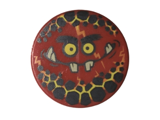 Lego alkatrész - Red Tile, Round 2x2 with Bottom Stud Holder with Globlin Face with Small Teeth Pattern
