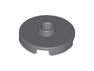 Lego alkatrész - Dark Bluish Gray Tile, Round 2x2 with Open Stud