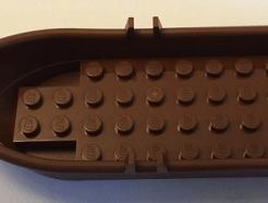Lego alkatrész - Reddish Brown Boat, 14x5x2 with Oarlocks without Hollow Inside Studs
