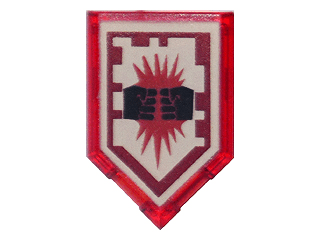 Lego alkatrész - Trans-Red Tile, Modified 2x3 Pentagonal with Nexo Power Shield Pattern - Charging Attack