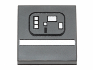 Lego alkatrész - Dark Bluish Gray Tile 2x2 with White Stripe and Rectangles (SW Gonk Droid) Pattern