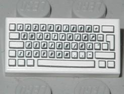 Lego alkatrész - White Tile 1x2 with Computer Keyboard Standard Pattern