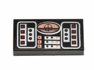 Lego alkatrész - Black Tile 1x2 with Avionics SW Copper, Red & Silver Pattern