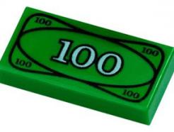 Lego alkatrész - Green Tile 1x2 with 100 Dollar Bill Money Pattern