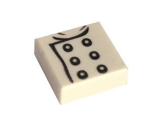 Lego alkatrész - White Tile 1x1 with Chef Jacket Pattern