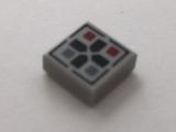 Lego alkatrész - Light Bluish Gray Tile 1x1 with Black Cross and Dark Red and Dark Bluish Gray Buttons Pattern