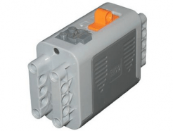 Lego alkatrész - Light Bluish Gray Electric 9V Battery Box 4x11x7 PF Complete Assembly with Orange Switch and Dark Bluish Gray Covers