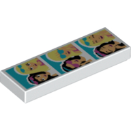 Lego alkatrész - White Tile 1x3 with 3 Friends Photos Pattern