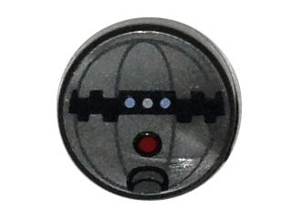 Lego alkatrész - Flat Silver Tile, Round 1x1 with Thermal Detonator Pattern