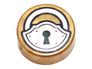 Lego alkatrész - Pearl Gold Tile, Round 1x1 with Black and Silver Padlock Pattern