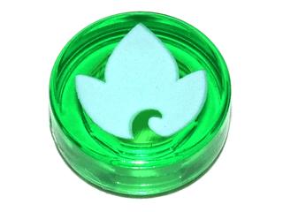 Lego alkatrész - Trans-Green Tile, Round 1x1 with Elves Earth Power Icon Pattern