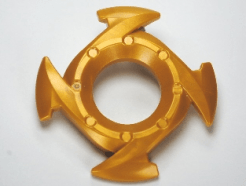Lego alkatrész - Pearl Gold Ring 4x4 with 2x2 Hole and 4 Arrow Ends (Ninjago Spinner Crown)