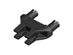Lego alkatrész - Black Technic, Pin Double Triangle 1 x 3 with 2 Clips without Center Cut