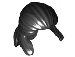 Lego alkatrész - Black Minifig, Hair Pulled Back