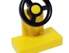 Lego alkatrész - Yellow Vehicle, Steering Stand 1x2 with Black Steering Wheel
