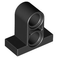 Lego alkatrész - Black Technic, Pin Connector Plate 1x2x1 2/3 with 2 Holes (Double on Top)