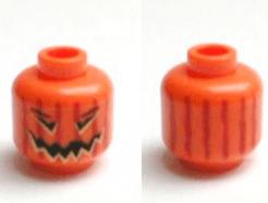Lego alkatrész - Minifig, Head Pumpkin Jack O' Lantern with Vertical Lines on Back Pattern - Blocked Open Stud