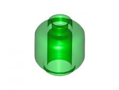 Lego alkatrész - Minifig, Head (Plain) - Stud Recessed - Trans Bright Green