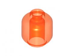 Lego alkatrész - Minifig, Head (Plain) - Stud Recessed - Trans-Neon Orange