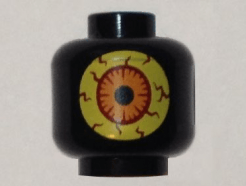 Lego alkatrész - Black Minifig, Head Alien Large Yellow Eye with Red Veins and Orange Iris Pattern (Sparkks) - Stud Recessed