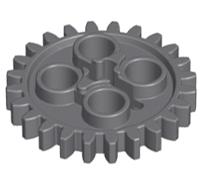 Lego alkatrész - Dark Bluish Gray Technic, Gear 24 Tooth (New Style with Single Axle Hole)