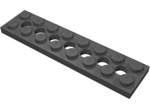 Lego alkatrész - Black Technic, Plate 2x8 with 7 Holes