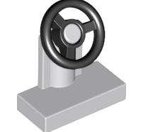 Lego alkatrész - Light Bluish Gray Vehicle, Steering Stand 1x2 with Black Steering Wheel