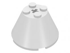 Lego alkatrész - White Cone 4x4x2 with Axle Hole