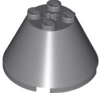 Lego alkatrész - Dark Bluish Gray Cone 4x4x2 with Axle Hole