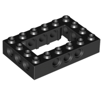 Lego alkatrész - Black Technic, Brick 4x6 Open Center