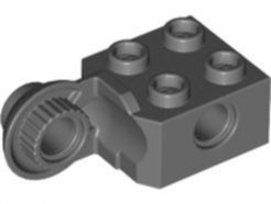 Lego alkatrész - Dark Bluish Gray Technic, Brick Modified 2x2 with Pin Holes and Rotation Joint Ball Half (Vertical Side)