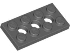 Lego alkatrész - Dark Bluish Gray Technic, Plate 2x4 with 3 Holes