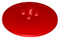 Lego alkatrész - Red Dish 6x6 Inverted (Radar) - Solid Studs