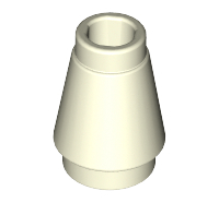 Lego alkatrész - Glow In Dark White Cone 1x1 with Top Groove