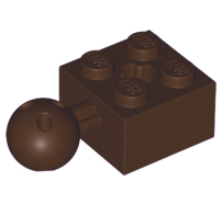 Lego alkatrész - Dark Brown Technic, Brick Modified 2x2 with Ball and Axle Hole with 6 Holes in Ball
