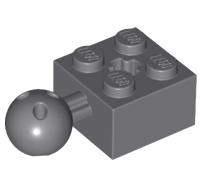 Lego alkatrész - Dark Bluish Gray Technic, Brick Modified 2 x 2 with Ball and Axle Hole with 6 Holes in Ball