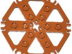Lego alkatrész - Medium Dark Flesh Technic, Plate Rotor 6 Blade with Clip Ends Connected (Water Wheel)