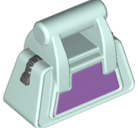 Lego alkatrész - Light Aqua Friends Accessories Handbag with Zipper and Dark Purple Side Pattern