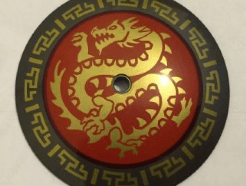 Lego alkatrész - Pearl Dark Gray Dish 9x9 Inverted (Radar) with Gold Dragon on Red Medallion Pattern