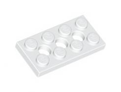 Lego alkatrész - White Technic, Plate 2x4 with 3 Holes