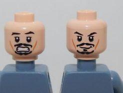 Lego alkatrész - Minifig, Head Dual Sided PotC Jack Black Moustache, Smile / Scared Pattern - Blocked Open Stud