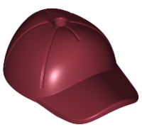 Lego alkatrész - Dark Red Minifig, Headgear Cap - Short Curved Bill with Seams and Hole on Top