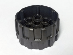 Lego alkatrész - Pearl Dark Gray Wheel Hard Plastic, Treaded with 7 Pin Holes (37mm D. x 22mm)
