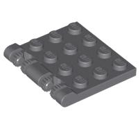 Lego alkatrész - Dark Bluish Gray Hinge Plate 3x4 Locking Dual 2 Finger