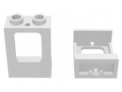 Lego alkatrész - White Window 1x2x2 Plane, Single Hole Top and Bottom for Glass
