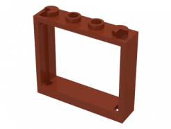 Lego alkatrész - Reddish Brown Window 1x4x3 - No Shutter Tabs