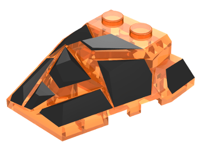 Lego alkatrész - Trans-Orange Wedge 4x4 Fractured Polygon Top with Black Facets Pattern